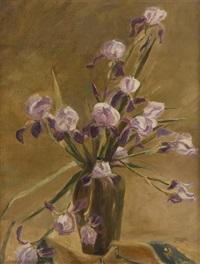 vase fleuri d'iris by alice halkett