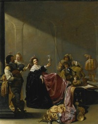 a guardroom interior with a seated woman amongst plunder by jacob duck
