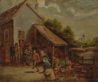 feiernde und tanzende bauern vor einer taverne by david teniers the younger