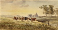 cattle watering by a wooded riverbank (+ cattle grazing with a church beyond, smllr; 2 works) by henry earp