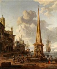 südlicher hafen mit grossem obelisken sowie segelschiffen by abraham jansz storck