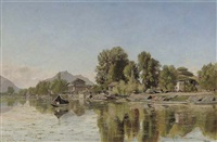 village scene on a river, northern india (chenab river ?) by frederick william john shore