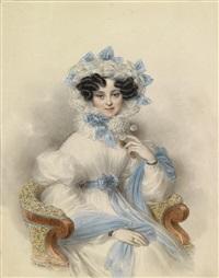 bildnis der erzherzogin henriette von österreich in weißem kleid mit blauen schleifen, in einem lehnstuhl sitzend by johann nepomuk ender