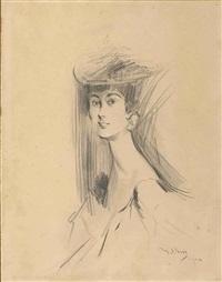 portrait de femme en buste tournée vers la gauche by giovanni boldini