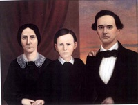 group portrait of a family, a husband and wife and their son by william carroll saunders