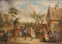 villageois et couple dansant près de l'auberge by david teniers the younger