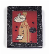 untitled (red bottle with bull's eye) by joseph cornell