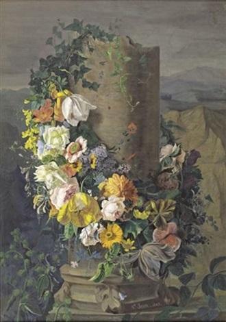 guirlande de fleurs entourant une colonne on 2 sheets by simon saint jean