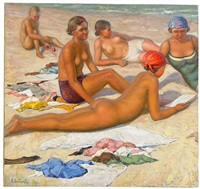 on the beach by sergei vladimirovich oleinikov