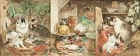 scènes animées de chats (3 works) by henriette ronner-knip