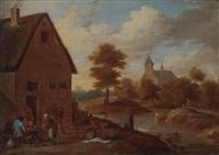 bachlandschaft mit blick auf eine kirche - im vordergrund ein gasthaus mit einer gruppe karten spielender bauern by david teniers the younger