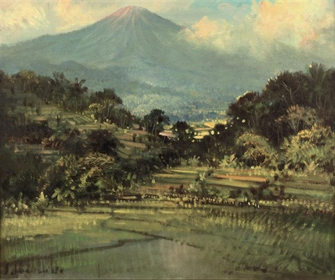 landscape with vulcano and sawahs by sudjono abdullah
