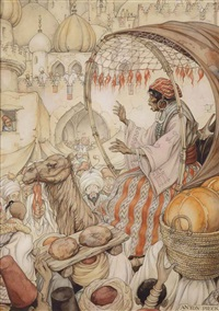 from arabian nights; the story of the return of kanmakan in bagdad by anton pieck