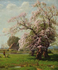 spring country farm landscape with blossoming trees by gustave adolph wiegand