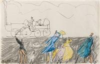 machine a vapeur et personnages by lyonel feininger