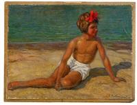 child on the beach by sergei vladimirovich oleinikov
