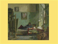 lesender maler im atelier by salomon sigrist