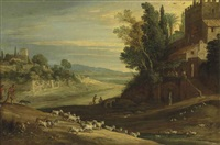 an extensive italianate landscape with shepherds watering their flocks by a stream, with jesus and two disciples at emmaus by paul bril