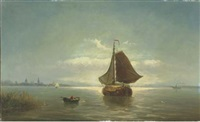 shipping by a coast at dusk by bartol wilhelm van laar