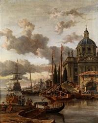 mediterrane hafenvedute mit kuppelkirche by abraham jansz storck