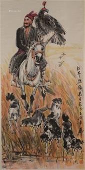 高原猎人 立轴 纸本 by huang zhou
