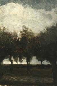 a landscape scene with trees and clouds in the sky by julius paulsen