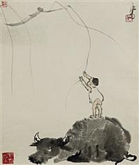 shepherd boy and buffalo by li keran