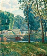 le canal du midi, paysage d'été by gustaf albert