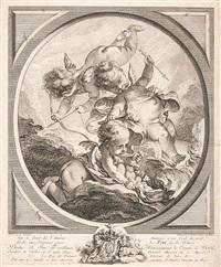 le feu - allegorische darstellung mit einem eine fackel haltenden putto (after f. boucher) by jean daulle