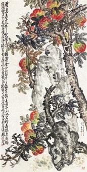 桃实千秋图 立轴 设色纸本 by zhao yunhe