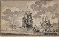 een hollands orlogschip / tree hollandse oost-indische scheepen by pieter (petrus) schenk