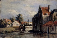 a view of a canal by johannes jacobus (jan) heppener