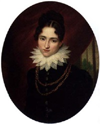 portrait of comtesse de valence in a dark blue dress and a lace collar by francois van dorne