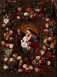 blumenkranzbild mit heiliger familie by jan brueghel the younger and jan van balen