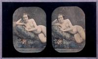 etude de nu. femme nue allongée et accoudée sur un coussin (study) by joseph auguste belloc