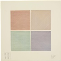 four-part drawing using three colors in each part by sol lewitt