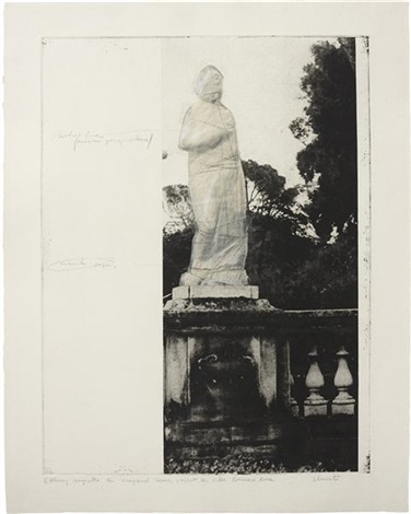 etching maquette for wrapped venus, project for villa borghese, rome by christo and jeanne-claude