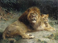 a lion and a lioness basking in the sun by paul friedrich meyerheim