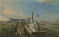 a view of fort william, calcutta, seen from the east, with the church of saint anne and the governor and his guard by george lambert