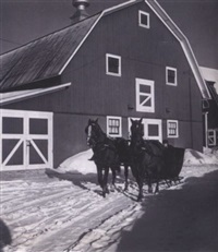 sleigh on a farm near burke, vi by john vachon