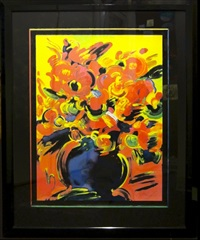 red flowers by peter max