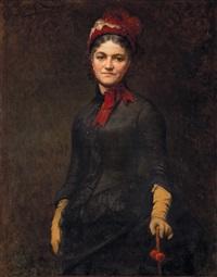 ritratto di signora con cappellino di velluto rosso by jules charles aviat