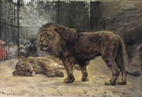 watching the lions by paul friedrich meyerheim