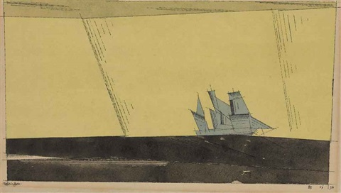 untitled schooner on black sea by lyonel feininger