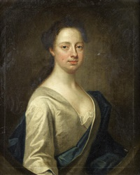 portrait of a lady, half-length, in a white silk dress and a blue sash by james fellowes