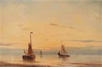 sailing vessels moored at sunset by jacob willem gruyter