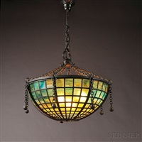 mosaic glass hanging lamp by tiffany studios