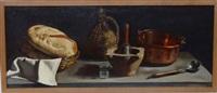 nature morte au pain et au cuivres by pierre jouffroy