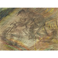 man on a bicycle by umberto boccioni