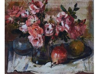 still life with pink roses and pomegranates by irmin henkel